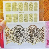 2 pack Gold Lace Nail Sticker, Lace Nails, Nail Design, Gold Nail Art, Decals