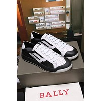 Bally The New Competition Men's Deer Leather Trainer In Black White Sneakers Shoes
