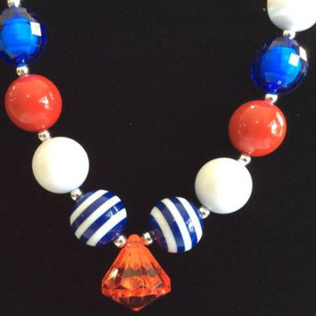 The Patriotic Red Diamond Chunky Necklace