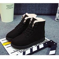 2017 New 8 Colors Ankle Boots For Women Solid Plates Women's Snow Boots Lace-up Warm Cotton Girls Shoes Winter Boots