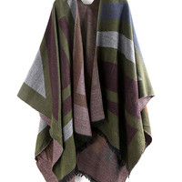 Army Green Contrast Geo Print Tasseled Trims Cape