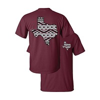 Southern Couture Texas Aztec State Pattern Maroon Girlie Bright T Shirt