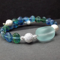 Sea Shell Bracelet:  Teal Blue Beaded Wrap, Aqua Sea Glass Cuff, Holiday Silver Sparkle Beach Jewelry, Winter Accessory