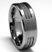 7 MM Titanium ring Wedding band with Stainless steel Cable Inlay sizes 7 to 12
