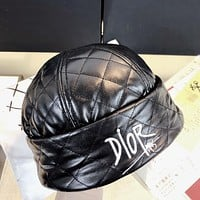 Dior CD embroidered letters black autumn and winter thickened melon leather hat popular men and women all-match leather hat