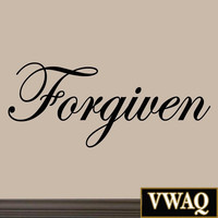 Forgiven Decal Wall Quote Inspirational Sayings Stickers Quotes Art Jesus Vin...
