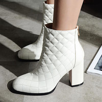 2018 New Fashion Brand Winter Shoes Runway Thick Heel Women Ankle Boots Square Toe Lady Warm Genuine Leather Motorcycle Boots 90