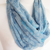 Blue / Grey Cotton Infinity Scarf, Long Scarf,  Loop Scarf, Christmas Gift