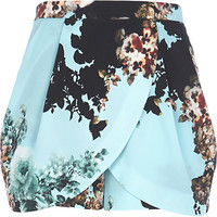 River Island Womens Turquoise floral skort