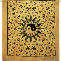 Ying Yang Wall Décor, Indian Cotton Tapestry, Full Size Blanket,Om Bedsheet,Bohemian Wall Tapestries,Wall Décor Bedspread,Coverlet TP1225F