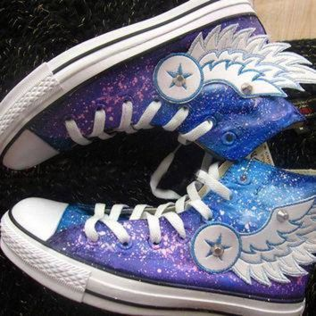 CREYUG7 Hand painted shoes converse galaxy, Flying wings (2 version)