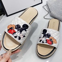 GUCCI & Disney New fashion mouse print women shoes flip flop slippers