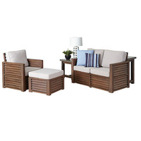 Home Styles Furniture 5516-652C Barnside Aged Barnside Love Seat, Chair, Ottoman and End Table with Accent Pillows