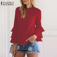 2017 ZANZEA Women Elegant Blouses Shirts Ladies O Neck Flounce Long Sleeve Solid Blusas Tops Casual Loose Pullover Plus Size