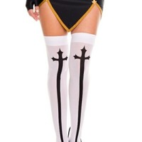 Big Gothic Cross In White Thigh Highs