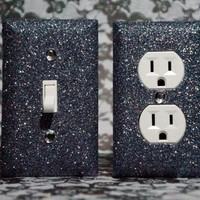 SET of Charcoal Grey Glitter Switch Plate / Outlet Covers ANY STYLES