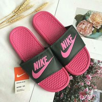 """""""Nike"""" Summer Fashion Multicolor Letter Logo Slippers Women Home Sandals Flats Shoes"""