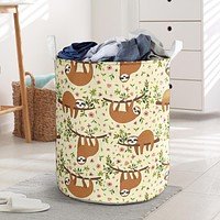 Floral Sloth Laundry Basket