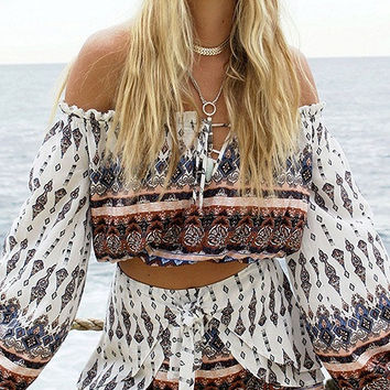 White Lace Up Off Shoulder Tribal Print Flared Sleeve Top and Shorts Combi