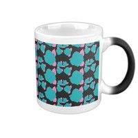 Teal and Pink Rose Floral Print Coffee Cup