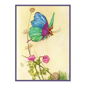 Fairy said Tom Hop on my Thumb Warwick Goble Counted Cross Stitch Chart Pattern