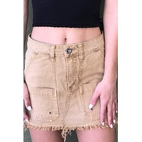 "Free People ""Canvas Relaxed Mini Skirt""- Khaki"