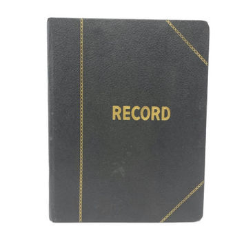 Vintage Unused Record Notebook, Blank Ledger, Log Book, Journal Diary, Accounting, Bookkeeping, Office School Supply, Black Gold, Numbered