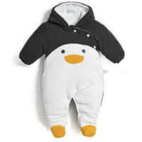 New 2016 autumn winter wanrm rompers  newborns baby boy clothes bebes cartoon penguin thick cotton jumpsuits infant overalls
