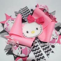 Pink hello kitty over the top boutique hairbow