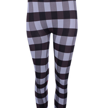 Women One Size Plaids & Checks Banded High Waist Seamless Leggings