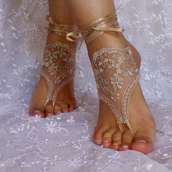 Tan Barefoot Sandals  french lace Nude shoes