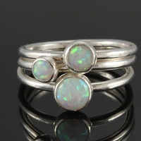 Opal ring set of 3 stacking sterling silver rings with simulated white opal, October birthstone, handmade, promise rings, gift for her