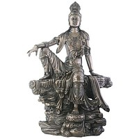Kuan Yin Water and Moon Resting on Rock Statue Bronze Finish 14H