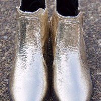 Golden Girls Gold Foil Ankle Booties