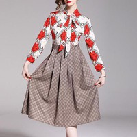 GUCCI Newest Hot Sale Women Fashion Print Long Sleeve Lapel Shirt Dress