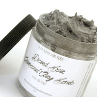Cleansing Dead Sea Salt, Charcoal and Clay Scrub - 3-in-one Cleanser, Scrub, Mask - White Ginger Amber Scented - 5 ounces