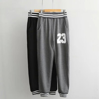 Stripe Letter Print Pocket Sweat Pants