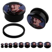 One Pair (2pcs) Horror Movie Character FREDDY Acrylic Screw Fit Plugs - 00G(10MM)