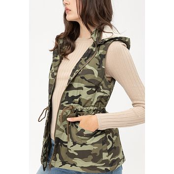 Sherpa Camo Drawstring Waist Military Hooded Anorak Vest with Pockets