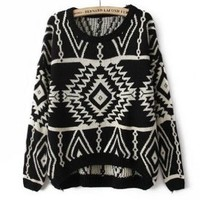 Ninimour- Women's Spring Knitted Sweater Loose Pullover Outwear (Black)
