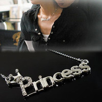 Fashion Letters 'Princess' With Crown Clavicle Chain Pendant Necklace Jewelry = 1946681348