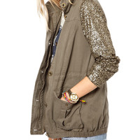 Sequins Collared Long Sleeves Coat