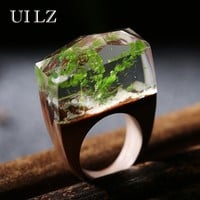 Green Plant Resin Resin Wooden Rings Secret Snowland Ethereal Worlds Encapsulated In Wood and Resin Rings JWRP032