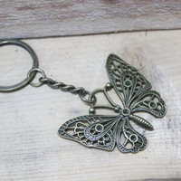 Hot sale the butterfly keychain,bronze color,beige,butterfly,spring,