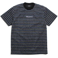 Disturbed Glitter Stripe Shirt Blue