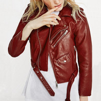 Women's Red Wine Leather Jacket