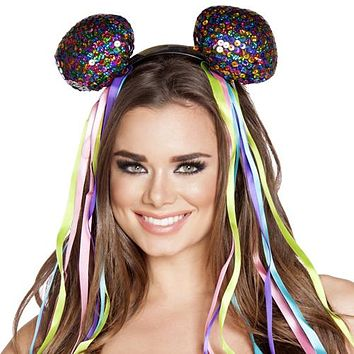 Sexy Multicolor Sequin Mouse Ears with Flowing Ribbons