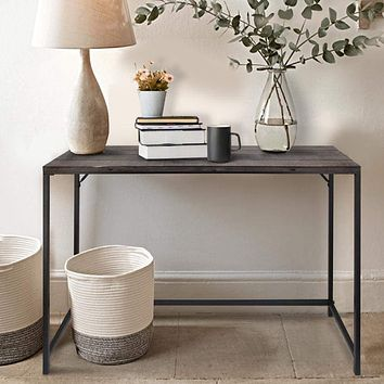 Rectangular Sofa Console Table with Plank Tabletop and Metal Base, Brown and Black