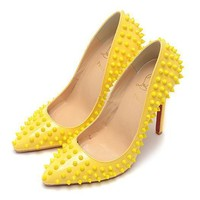 Christian Louboutin Fashion Edgy Rivets Red Sole Heels Shoes-3