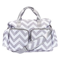 Baby Diaper Bags  - Gray and White Chevron Deluxe Duffle Diaper Bag